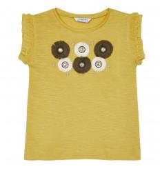 Camiseta apliques flores niña - Mostaza