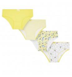 Set de 4 panties para niña - Amarillo