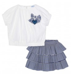 Conjunto para niña arandelas - Azul