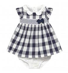 Vestido para bebé niña con calsoncitos- Azul