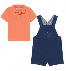 Overol con camisa polo para bebé niño-Azul