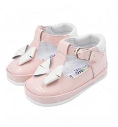 Zapatos no tuerce en trabilla con moño-rosados