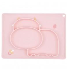 Plato en silicona para bebé con diseño vaquita-Rosa