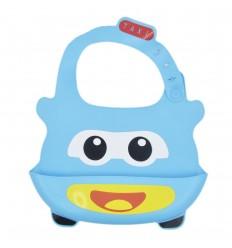 Babero en silicona para bebé- Azul Taxi