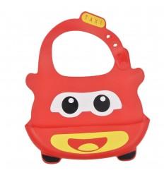 Babero en silicona para bebé- Rojo Taxi