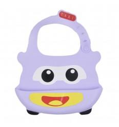 Babero en silicona para bebé- Lila Taxi