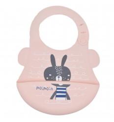 Babero en silicona para bebé- Rosa conejo