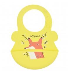 Babero en silicona para bebé- Amarillo zorrito