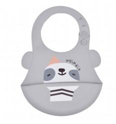 Babero en silicona para bebé- Gris animalito