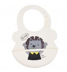 Babero en silicona para bebé- Crema leon