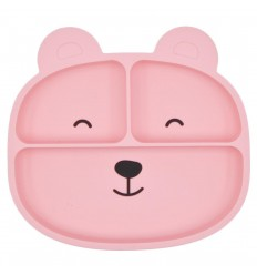 Plato en silicona para bebé con diseño osito-Rosa