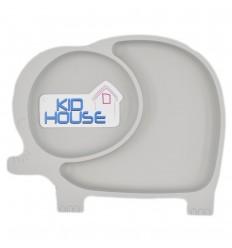 Plato en silicona para bebé con diseño elefante- Gris