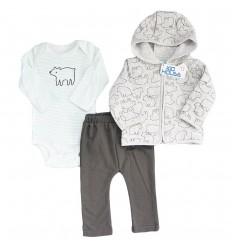 Conjunto 3 piezas para bebé niño - Gris Oso