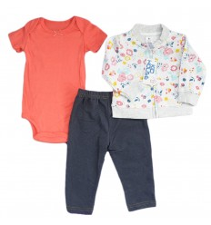 Conjunto 3 piezas para bebé niña Flores