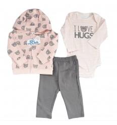 Conjunto 3 piezas para bebé niña Rosa - Ositas