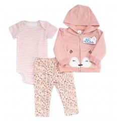 Conjunto 3 piezas para bebé niña Rosa - zorrita