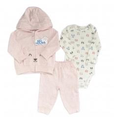 Conjunto 3 piezas para bebé niña osita Rosa