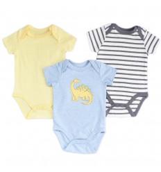 Set de 3 bodys para bebé niño-Dinosaurio