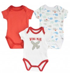 Set de 3 bodys para bebé niño- Rojo