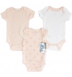 Set de 3 bodys para bebé niña - Flor rosa