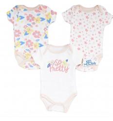 Set de 3 bodys para bebé niña - Flores
