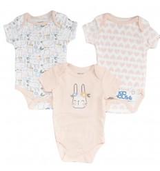 Set de 3 bodys para bebé niña -Conejos