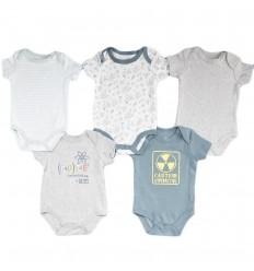 Set de 5 bodys para bebé niño- caution