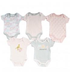 Set de 5 bodys para bebé niña -Gris rosa