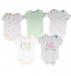 Set de 5 bodys para bebé niña- Happy