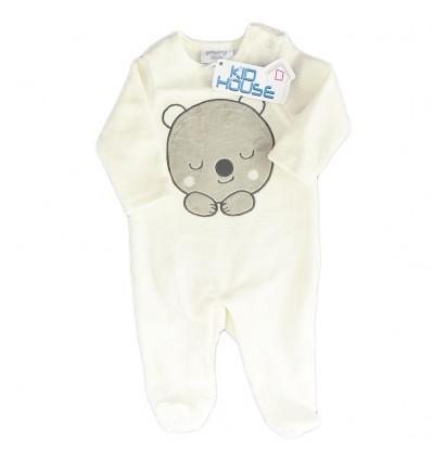 Pijama para bebé niño en corduroy -Beige osito