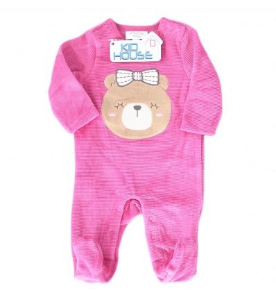 Pijama para bebé niña - Fucsia osita
