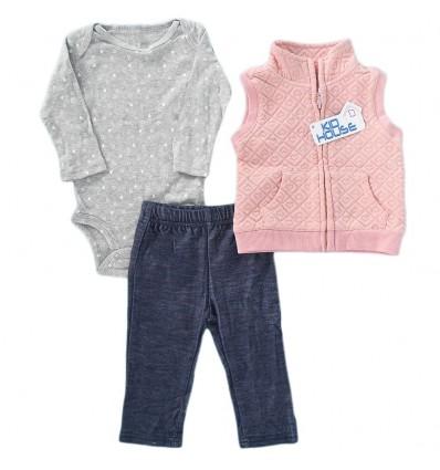 Conjunto 3 piezas para bebé niña Corazones