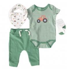 Conjunto 4 piezas para bebé niño - Verde