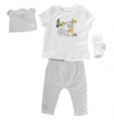 Conjunto 4 piezas para bebé niño Gris animalitos