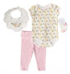 Conjunto 4 piezas para bebé niña- Rosa flores