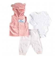 Conjunto 3 piezas para bebé niña - Rosado