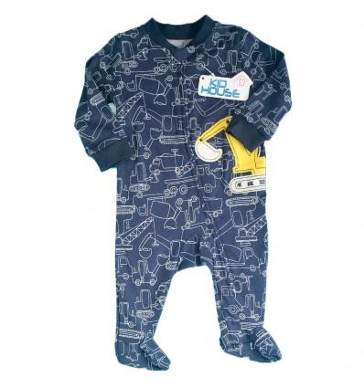 Pijama enteriza para bebé niño- Azul contrucción