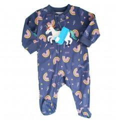 Pijama enteriza para bebé niña Azul Unicornio