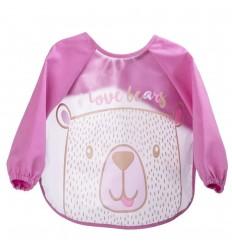 Babero delantal manga larga- rosado oso
