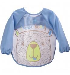 Babero delantal manga larga- Azul oso