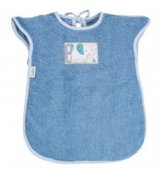 Babero tipo delantal en toalla para bebé- Azul
