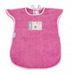 Babero tipo delantal en toalla para bebé- Fucsia