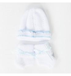Juego de gorro y medias para bebé prematuro-azul