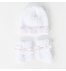 Juego de gorro y medias para bebé prematura- Rosa