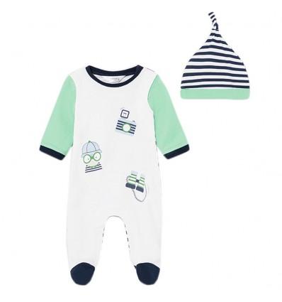 Mameluco con gorro para bebé niño- Menta